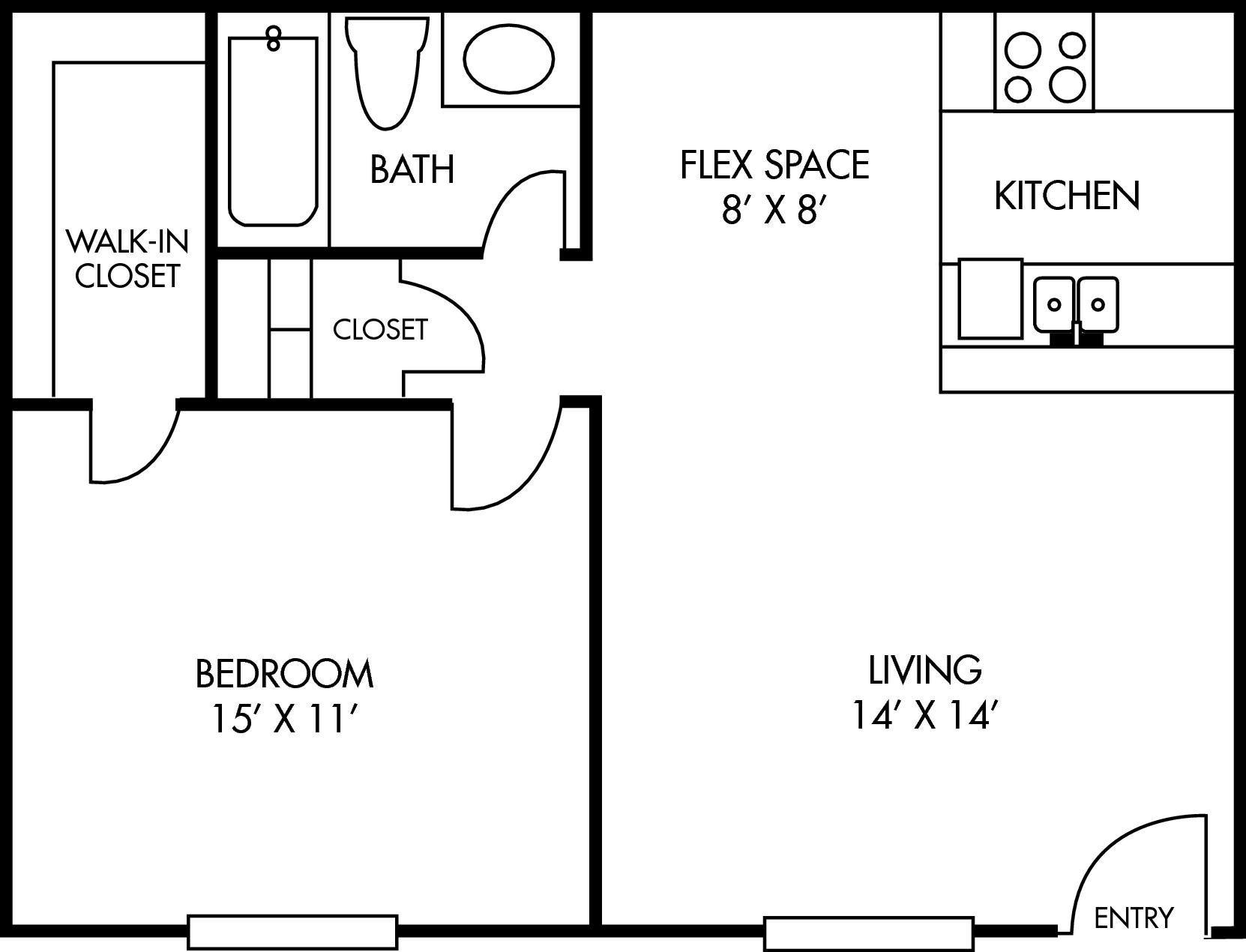 Salado at Cityview Floor Plan 1 bed 1 bath