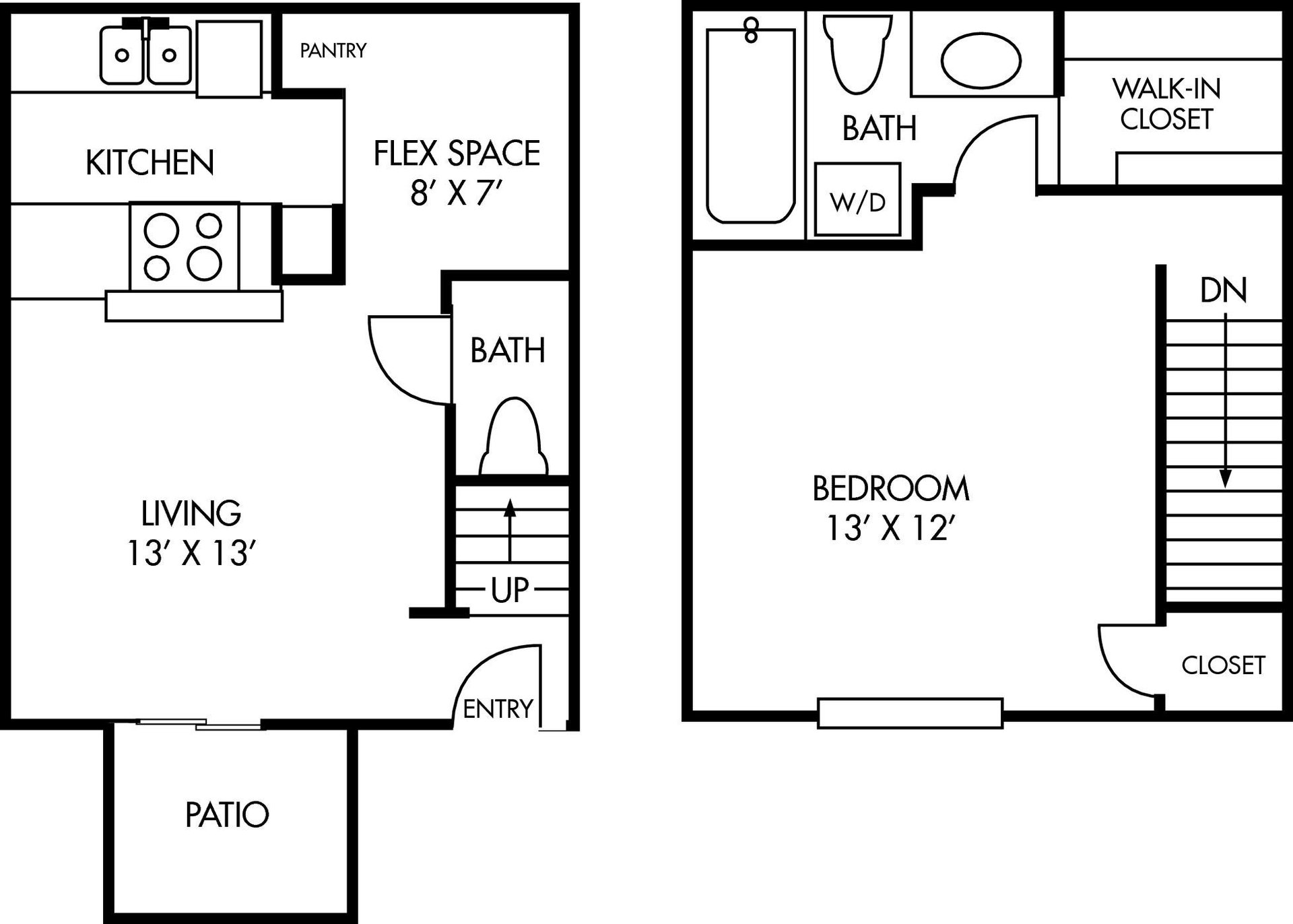 Two Story Houston Salado at Cityview Floor Plan 1 bed 1 bath
