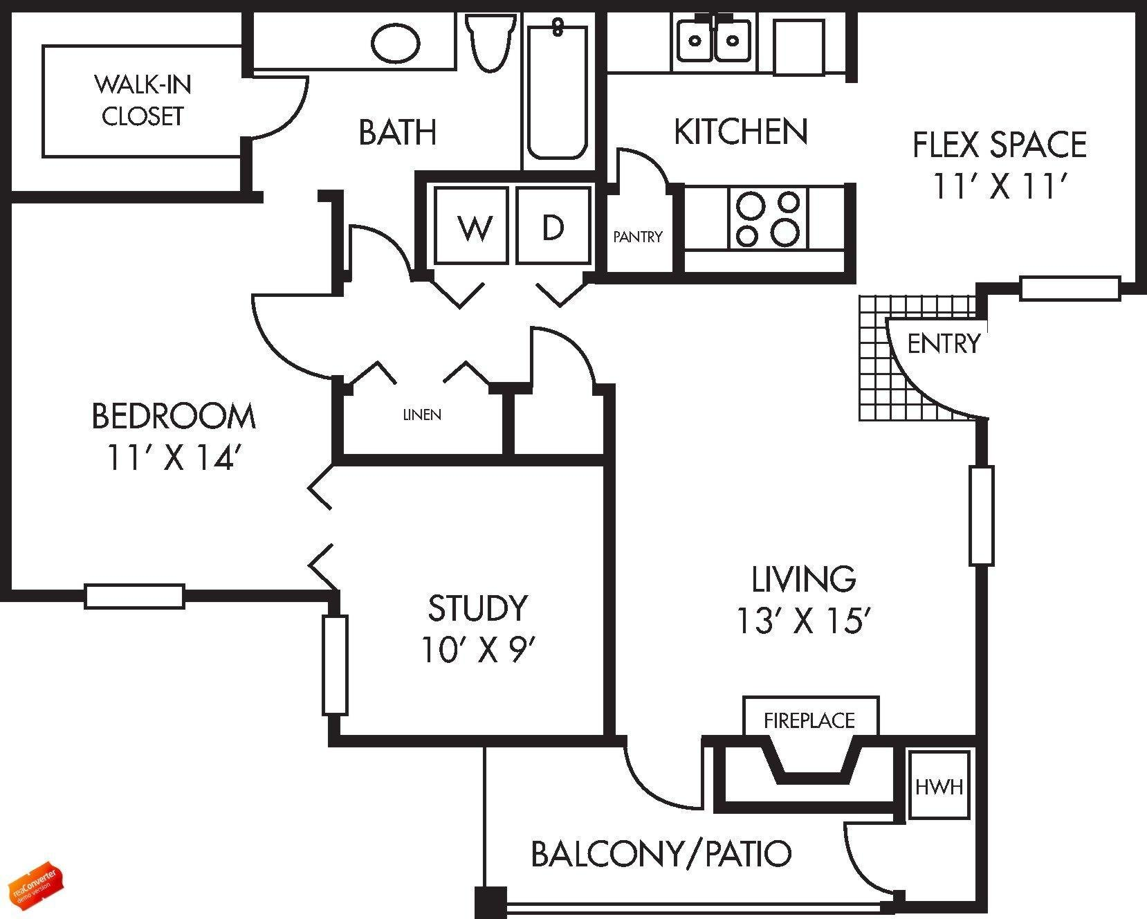 Augusta Floor Plan 1 bed 1 bath 1 study 876 square feet with Balcony / Patio - Houston Apartment