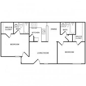Houston Texas Rockridge Park 2 bed 2 bath Floor Plan 914 square feet