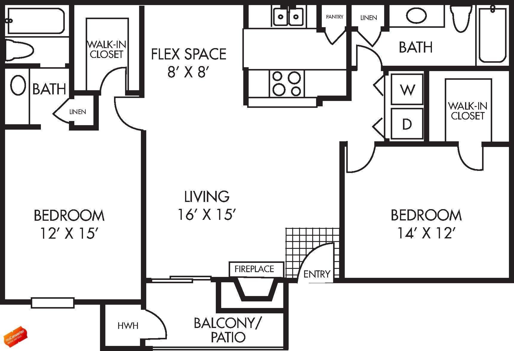 Augusta Floor Plan 2 bed 2 bath 1040 square feet with Balcony / Patio - Houston Texas Apartment Layout