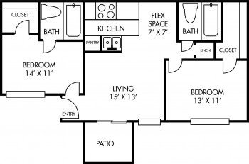 Houston Texas Salado at Cityview Floor Plan 2 bed 2 bath