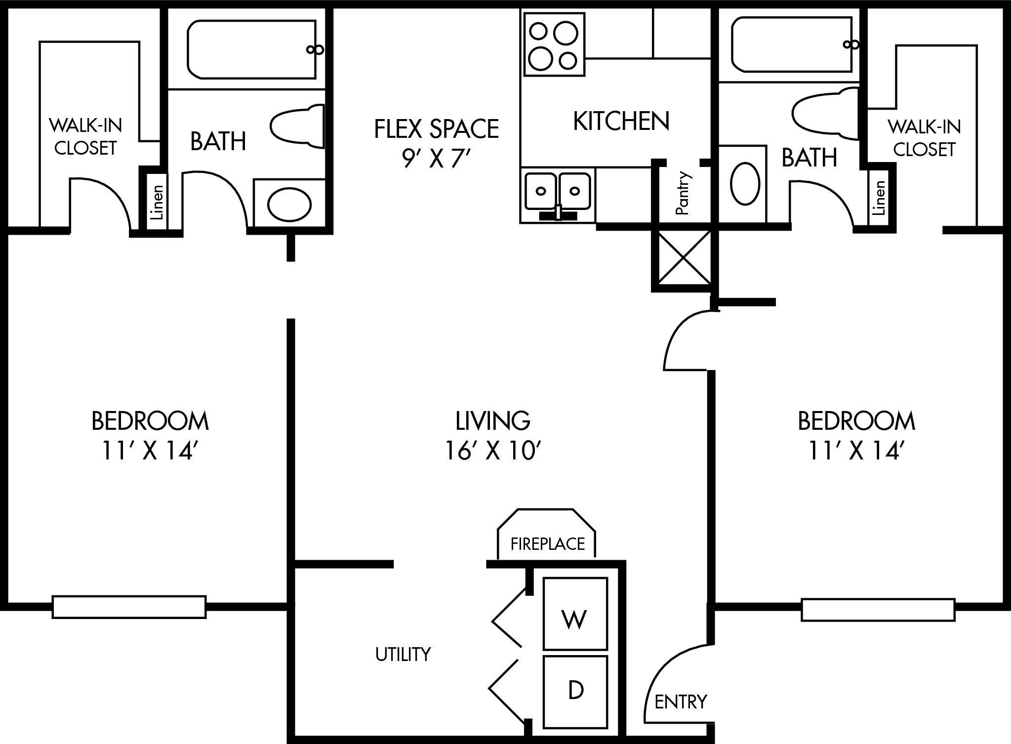 Breckenridge at Cityview 2 bed 2 bath Floor Plan 933 square feet