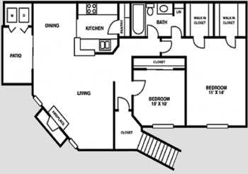 Houston Texas Apartment Complex Crescent at Cityview Floor Plan 2 bed 2 bath