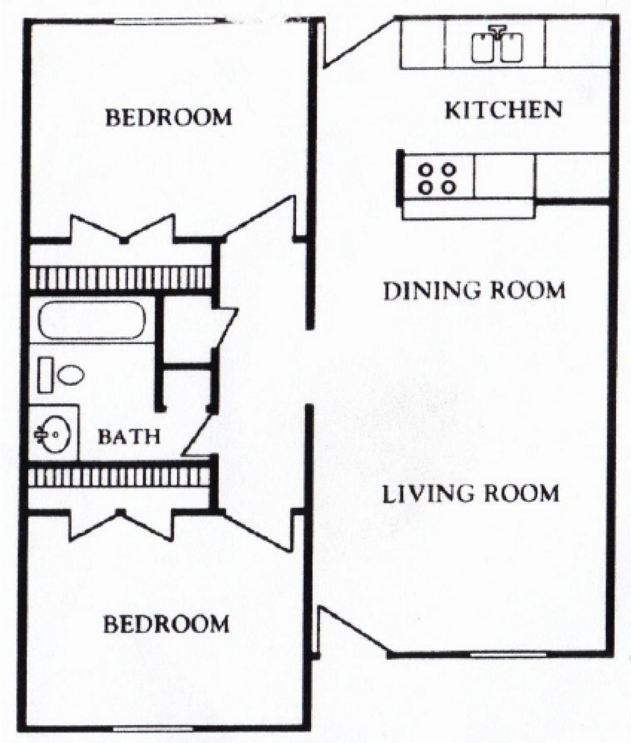 Houston Texas Apartment - Mont Belvieu Floor Plan 2 bed 1 bath 718 sq ft