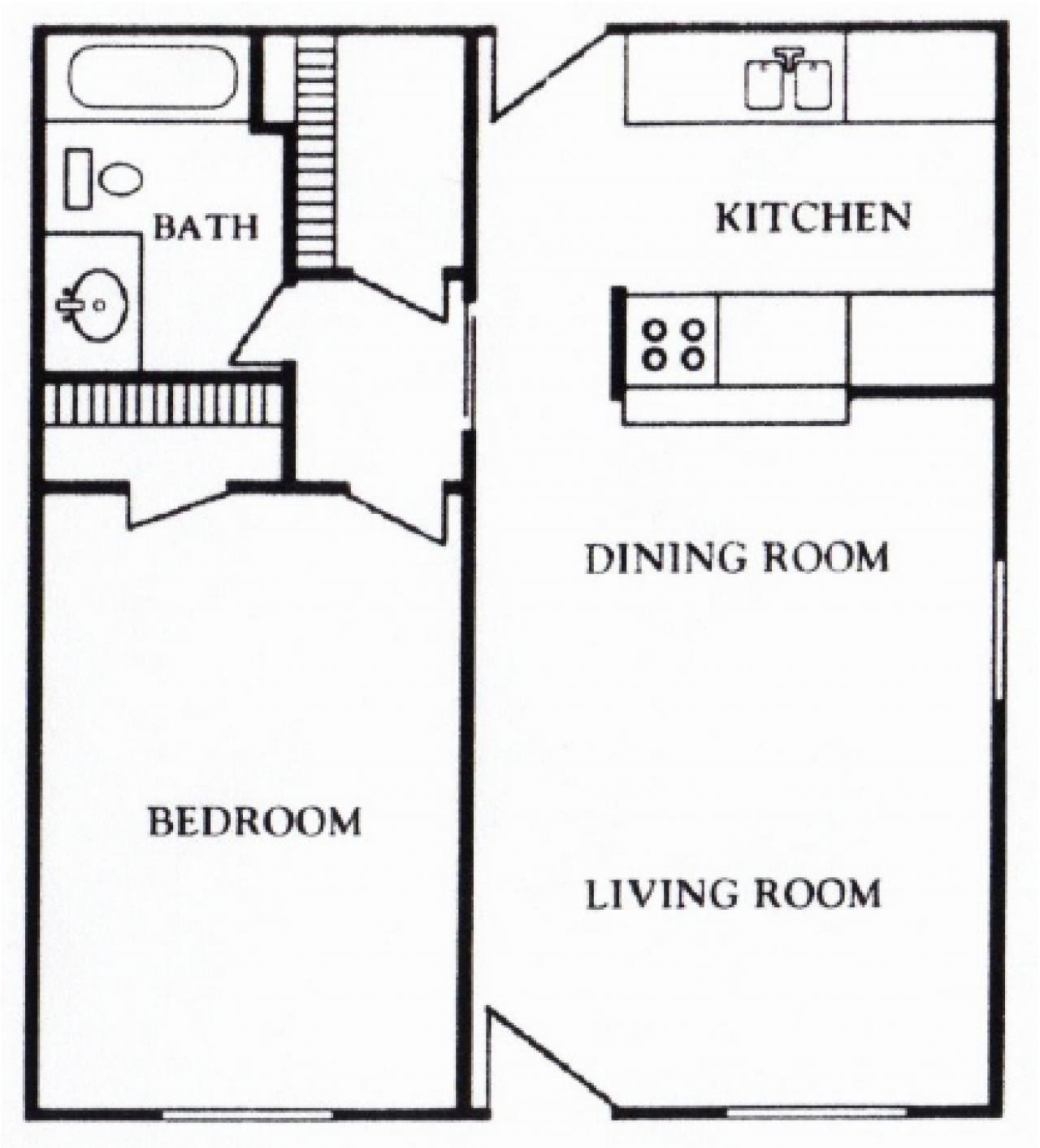 Houston Texas - Mont Belvieu Apartment Floor Plan 1 bed 1 bath 622 square feet
