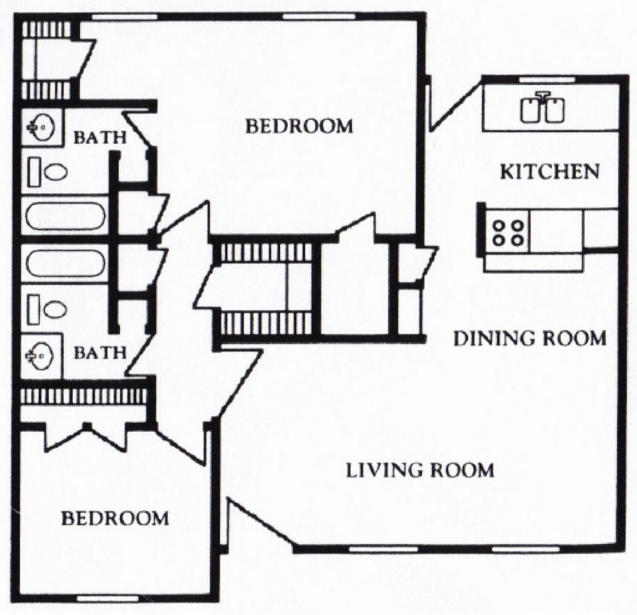 Mont Belvieu Floor Plan 2 bed 2 bath 1180 sq ft
