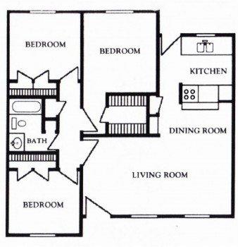Houston Texas Apartment - Mont Belvieu Floor Plan 3 bed 3 bath 1180 sq ft
