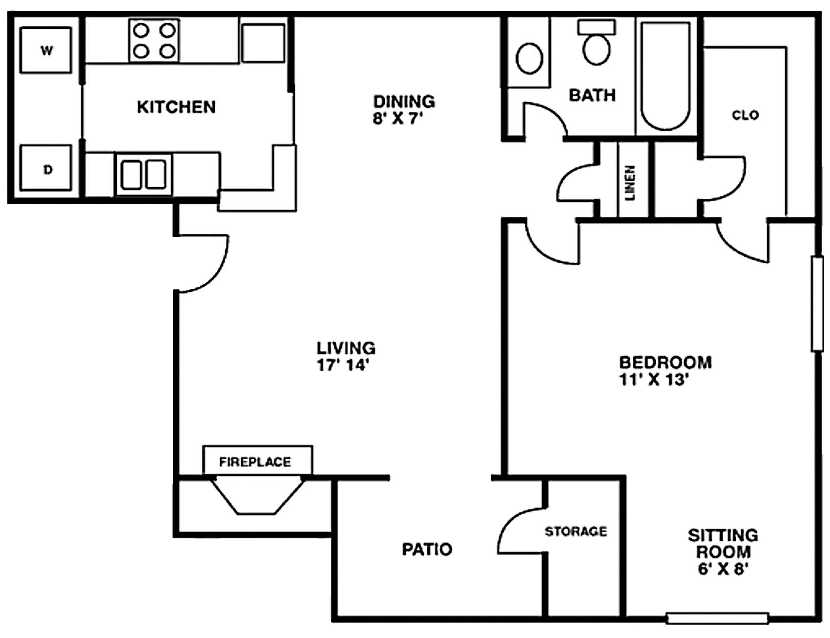 Crescent at Cityview Floor Plan 1 bed 1 bath - Houston Texas
