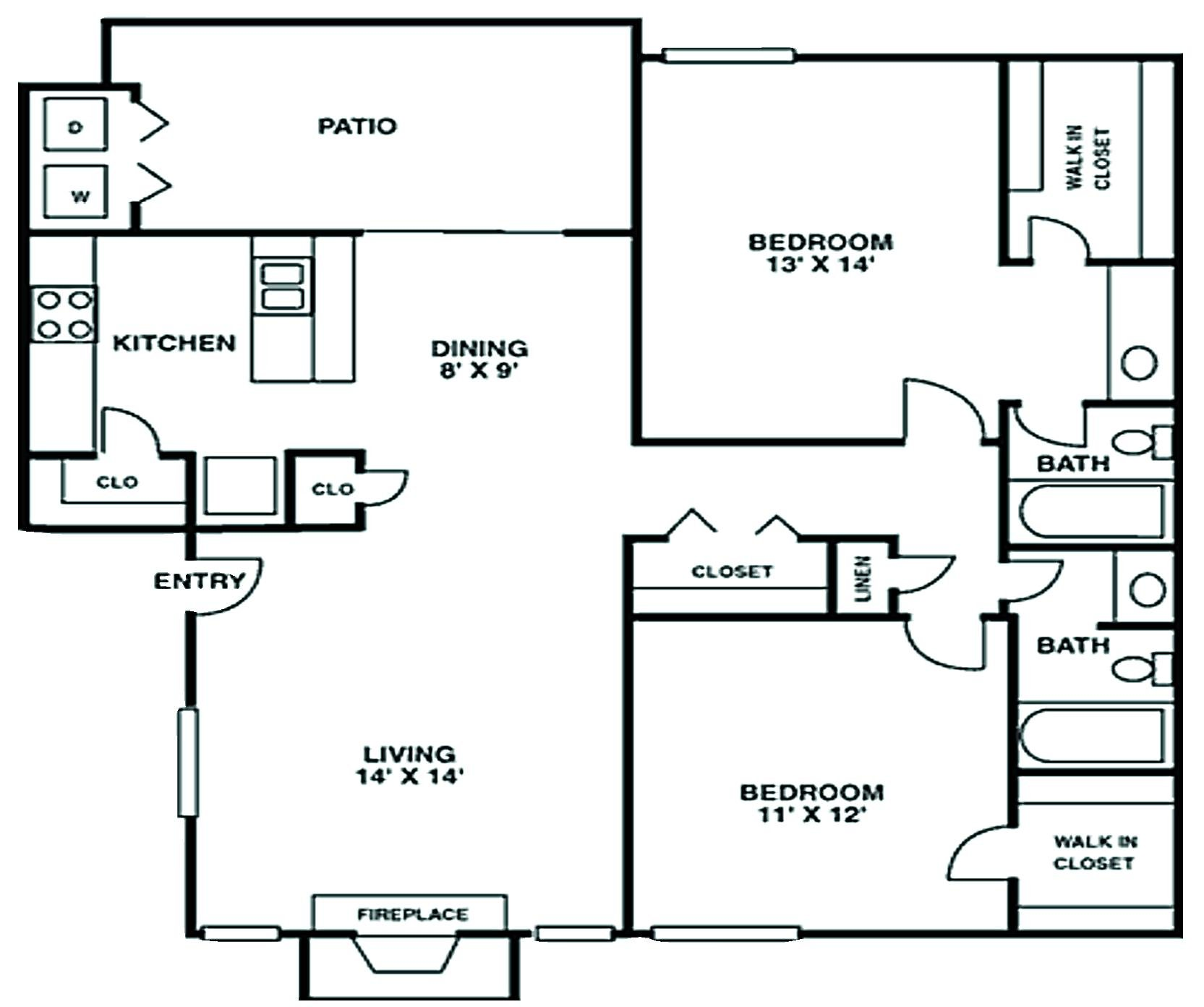 Crescent at Cityview Floor Plan 2 bed 1 bath 1033 sq ft