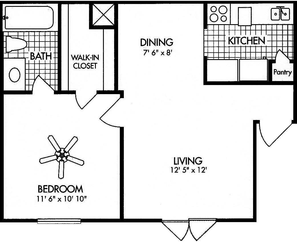 Amherst Floor Plans 1 bed 1 bath 571 sq ft