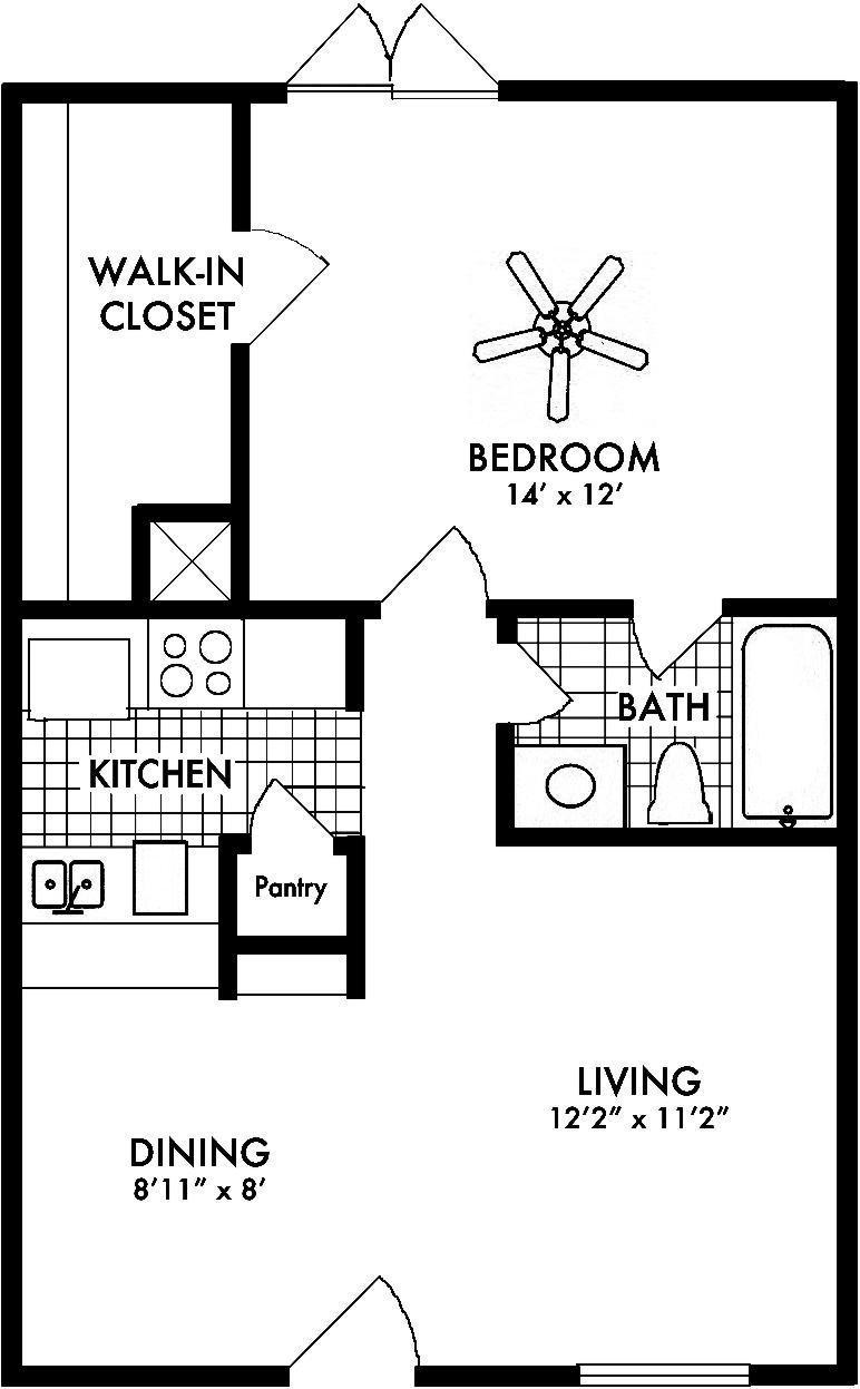 Amherst Floor Plan Houston 1 bed 1 bath 607 sq ft
