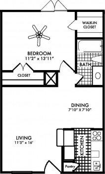 Amherst Floor Plans 1 bed 1 bath 617 sq ft