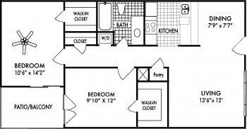 Amherst Floor Plans 2 bed 2 bath 840 sq ft Houston