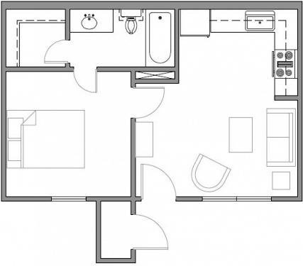 Premier Apartment 1 bedroom 1 bath 670 square feet Floor Plan