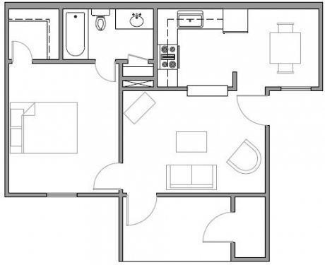 Houston Texas Premier Apartment 1 bed 1 bath Floor Plan