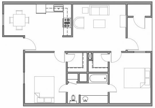 Houston Texas Premier Apartment 2 bed 2 bath 830 Square Feet Floor Plan