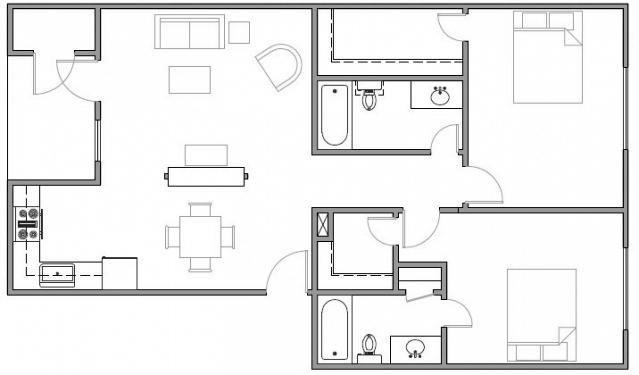 Houston Premier Apartment 2 bedroom 2 bath 981 sq ft