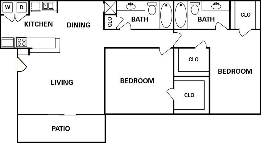 Houton Texas Apartment Heatherwood Floor Plan 2 bed 2 bath 959 square feet with Patio