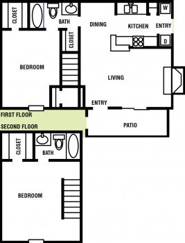 2 Story Apartment Northpointe Village 2 bed 2 bath Floor Plan 1048 sq ft - Houston Apartment