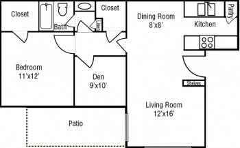 Stone River Apartments Large 1 bed 1 bath Floor Plan 750 sq ft