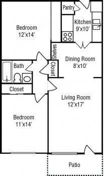 Houston Stone River Apartments 2 bed 1 bath Floor Plan 950 square feet