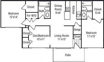 Houston Texas Apartment 3 bed 2 bath Floor Plan- Stone River Apartments