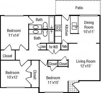 Stone River Apartments - 3 bed 2 bath Floor Plan