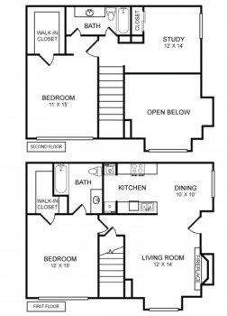 Houston Texas Two Story Apartment Rockridge Commons 2 bed 2 bath Floor Plan 1230 sq ft
