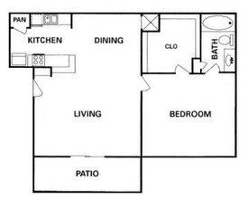 Heatherwood Houston Texas Apartment Floor Plan 1 bed 1 bath 625 sq ft