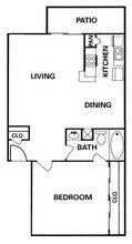 Apartment Complex Heatherwood Floor Plan 1 bed 1 bath 670 square feet