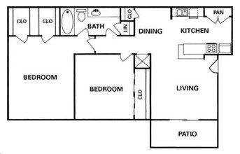 Heatherwood Layout 2 bed 2 bath 1040 sq ft