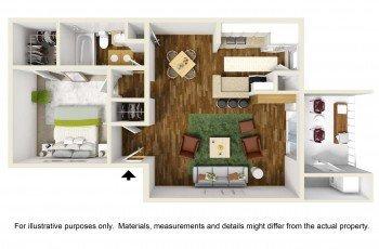 Houston Texas Rockridge Park 1 bed 1 bath Floor Plan