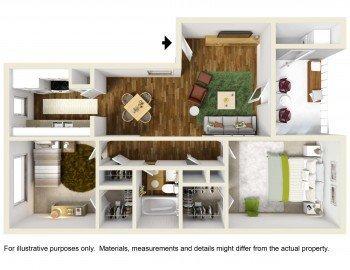 Houston Texas Rockridge Commons 2 bed 1 bath Floor Plan 814 sq ft