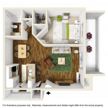 Rockridge Springs Large 1 bed 1 bath Floor Plan 650 Square Feet