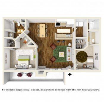 Rockridge Square 2 bed 1 bath Floor Plan in Houston
