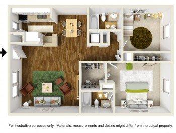 Houston Rockridge Station Large 2 bed 1 bath Floor Plan 880 sq ft