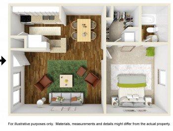 Houston Texas Rockridge Station 1 bed 1 bath Floor Plan