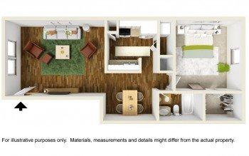 Houston Rockridge Station Large 1 bed 1 bath Floor Plan 712 square feet