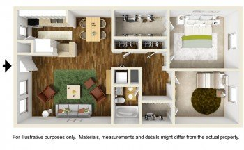 Rockridge Station Large 2 bed 2 bath Floor Plan 1010 square feet