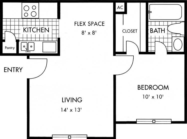 Biscayne at Cityview 1 bed 1 bath 500 square feet floor plan