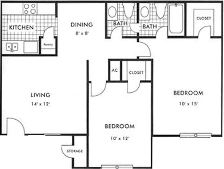 Biscayne at Cityview layout 1 bed 1 bath 835 square feet - Houston Texas Apartment