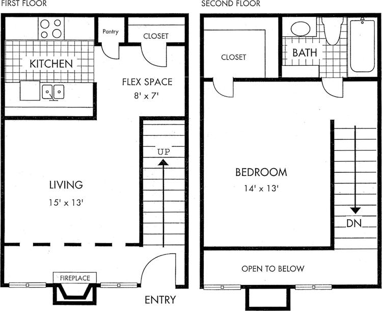 Two Story Biscayne at Cityview floorplan 1 bed 1 bath 768 square feet