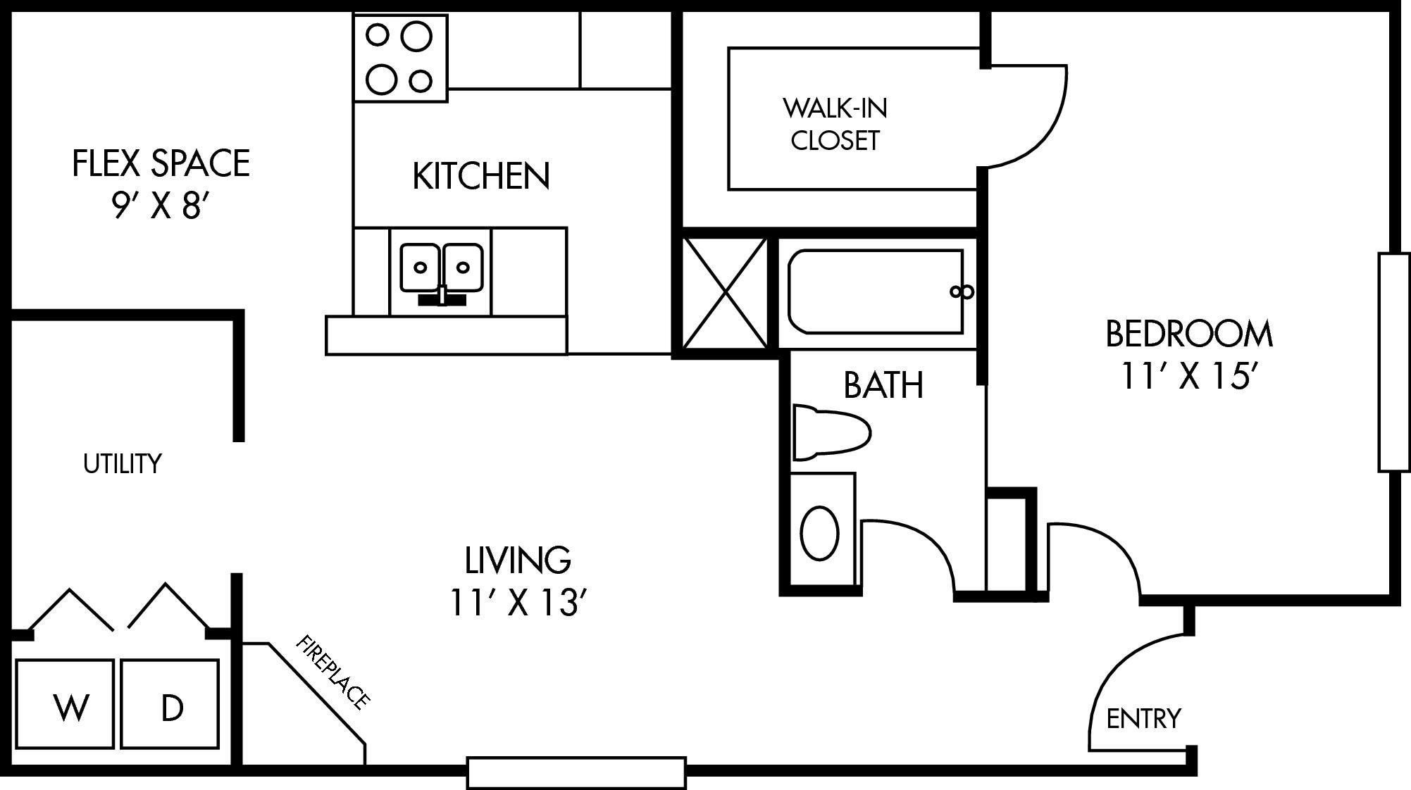 Breckenridge at Cityview 1 bed 1 bath with Dinning Area Floor Plan 643 square feet