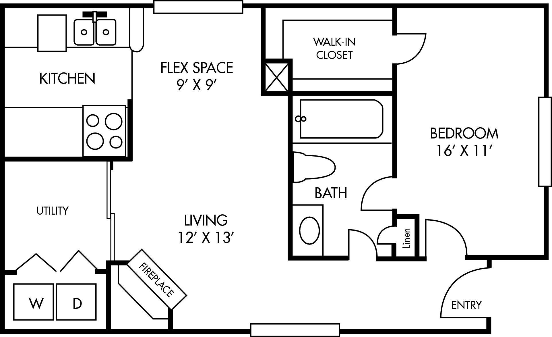 Breckenridge at Cityview 1 bed 1 bath Floor Plan 1072 - Houston Texas Apartment Complex