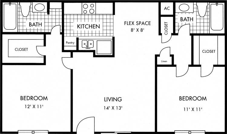 Houston Biscayne at Cityview floorplan 2 bed 2 bath 885 square feet