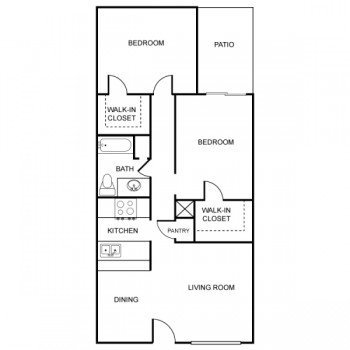 Rockridge Park Large 2 bed 2 bath Floor Plan with Patio