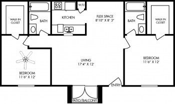 Houston Apartment - Durham at Cityview Floor Plan 2 bed 2 bath 882 sq ft