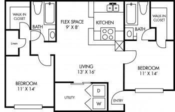 Houston Apartment Complex Breckenridge at Cityview 2 bed 2 bath Floor Plan 975 sq ft