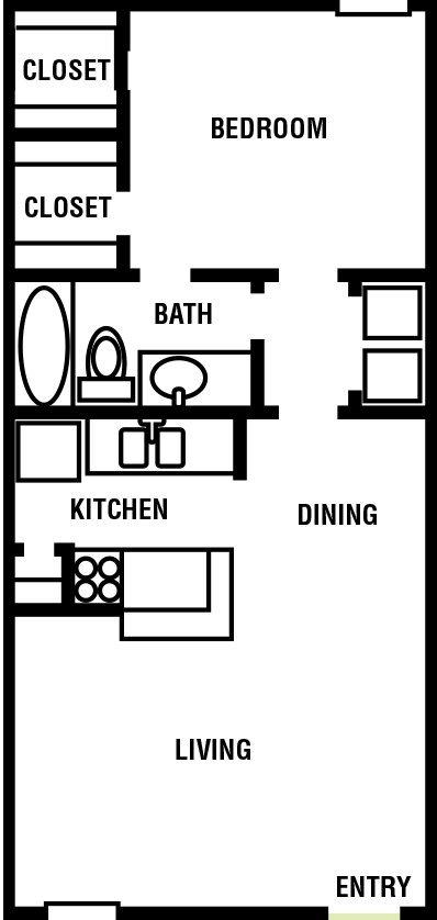Northpointe Village 1 bed 1 bath Floor Plan 682 square feet - Houston Apartment